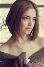 Preview iPhone wallpaper Short hair girl, shoulders, sweater, reverie