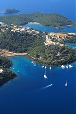 Preview iPhone wallpaper Sivota, Greece, islands, coast, sea, yachts