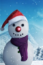Preview iPhone wallpaper Snowman, winter, snow, New Year