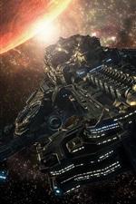 Preview iPhone wallpaper Spaceship flight, planet, art design