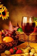 Ainda vida, fotografia, uvas, maçãs, morango, vinho, garrafa, flores, vela