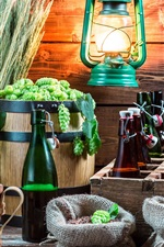 Preview iPhone wallpaper Still life, wheat, hops, beer, bottles, lantern