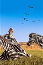 Preview iPhone wallpaper Striped dress girl and zebra, Africa, grass, art photography