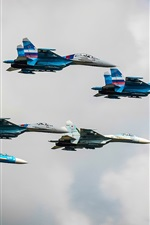 Su-27 fighters in sky, Russia air force