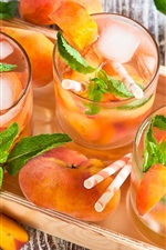 Preview iPhone wallpaper Summer fruit drinks, peaches, mint