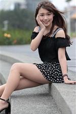 Preview iPhone wallpaper Summer short dress Asian girl, slender legs