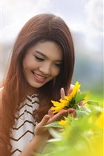 Preview iPhone wallpaper Summer smile Asian girl and sunflower