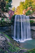 Preview iPhone wallpaper Sunny day, houses, waterfall, trees, Ontario, Canada
