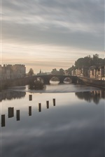 Preview iPhone wallpaper Sunrise, river, bridge, houses, morning, fog, Laval, France