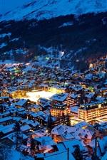 Switzerland, Zermatt, city night, Alps, winter, houses, snow
