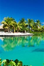 Preview iPhone wallpaper Tropical ocean, resort, palm trees, summer, hut