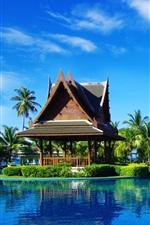 Preview iPhone wallpaper Tropical resort, palm trees, gazebo, umbrellas, sunbeds, pool