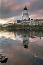 Preview iPhone wallpaper Vyborg, Russia, river, houses, clouds, dawn, morning