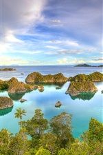 Preview iPhone wallpaper West Papua, Indonesia, islands, tropical, sea, coast, blue sky