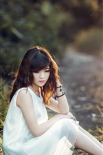 Preview iPhone wallpaper White dress Asian girl sit at ground, grass, sunshine