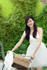 Preview iPhone wallpaper White dress Chinese girl smile, bike