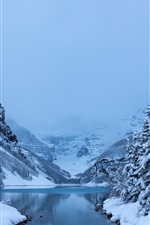 Preview iPhone wallpaper Winter, snow, trees, Lake Louise, Banff National Park, Canada nature landscape