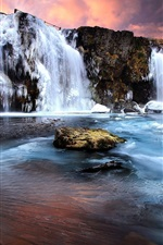 Preview iPhone wallpaper Winter, waterfall, snow, ice, rocks, sunset