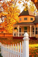 Preview iPhone wallpaper Wooden house in autumn, trees, leaves