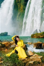 Preview iPhone wallpaper Yellow dress Asian girl, waterfalls, water, trees