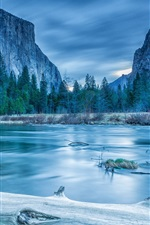 Preview iPhone wallpaper Yosemite National Park, trees, mountains, lake, winter