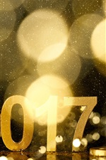 Preview iPhone wallpaper 2017 Happy New Year, alarm clock, golden style