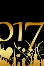 Preview iPhone wallpaper 2017 Happy New Year, golden style, black background