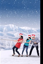 Preview iPhone wallpaper 2017 New Year, snow, girls and guy