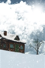 Preview iPhone wallpaper 3D design, winter, snow, house, trees, snowflakes