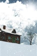 Projeto 3D, inverno, neve, casa, árvores, flocos de neve