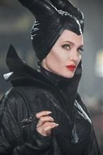 iPhone обои Анджелина Джоли, черное платье ведьмы, Maleficent