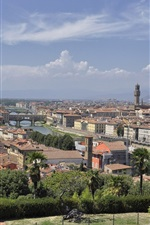 Preview iPhone wallpaper Arno, Italy, Florence, city, river, bridge, houses