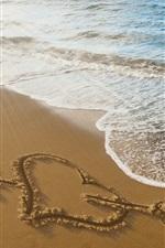 Aperçu iPhone fond d'écranFlèche, coeur, plage, mer, vagues