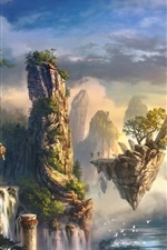 Preview iPhone wallpaper Art drawing, island, mountains, waterfall, clouds, fog, birds, fantasy