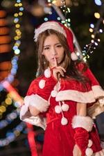 iPhone обои Азиатская девушка Рождество, красочные огни