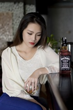 Preview iPhone wallpaper Asian girl sadness, bar, Whiskey