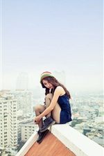 Preview iPhone wallpaper Asian girl sitting at roof, city, dangerous