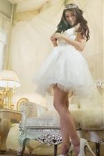 Preview iPhone wallpaper Asian girl, white skirt, pose, sofa, room