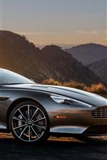 Preview iPhone wallpaper Aston Martin DB9 gray supercar at sunset