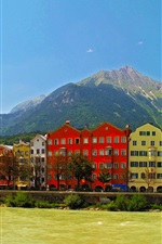 Preview iPhone wallpaper Austria, Innsbruck, mountains, river, houses