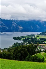 Preview iPhone wallpaper Austria, mountains, trees, grass, town, river, clouds