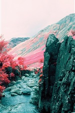 Preview iPhone wallpaper Autumn, mountains, grass, trees, rocks, red style