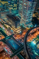 Preview iPhone wallpaper Bangkok, Thailand capital, city at night, top view, skyscrapers, road, lights
