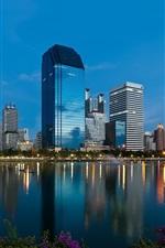 미리보기 iPhone 배경 화면 방콕, 태국, 고층 빌딩, 호수, 황혼