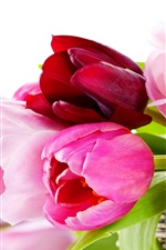 Preview iPhone wallpaper Basket, tulips, pink flowers