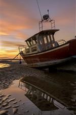 Preview iPhone wallpaper Beach, ship, sunset