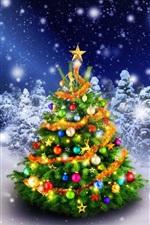 iPhone fondos de pantalla Hermoso árbol de Navidad en el invierno, el bosque, las luces, la nieve