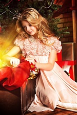 Preview iPhone wallpaper Beautiful blonde girl, princess, fireplace, gift, Christmas, New Year