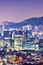 Bonito, cidade, noite, seoul, coréia, edifícios, casas, torre, luzes