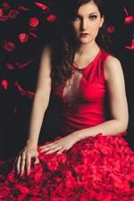 Preview iPhone wallpaper Beautiful red dress girl, petals flight, black background